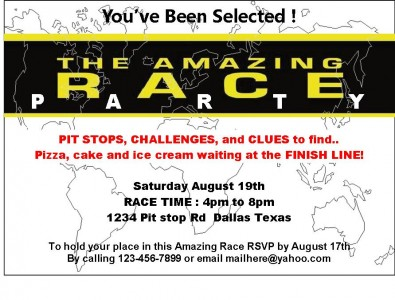 Product review amazing race party printables frugal for The amazing race clue template