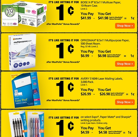 OFFICEMAX BONUS REWARD DEALS THIS WEEK thru 1/28 + FREE SHIPPING