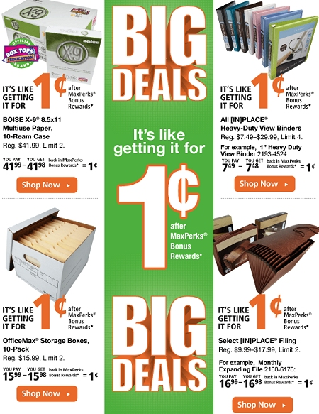 OFFICEMAX MAX PERKS BONUS REWARDS DEALS THIS WEEK – FREE + 1 CENT ITEMS