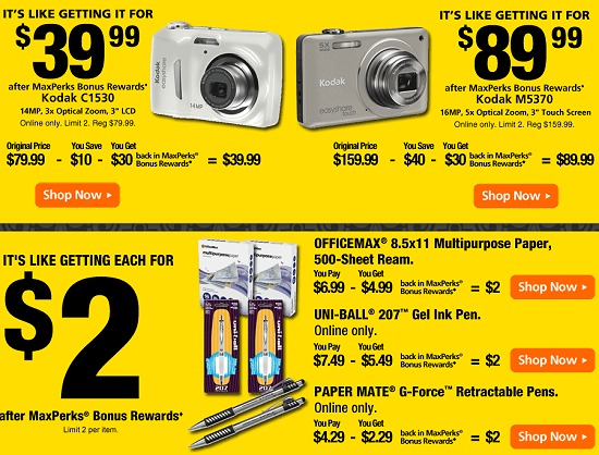 OFFICEMAX DEALS THIS WEEK 1/29 – 2/4 MAXPERKS BONUS REWARDS – INSTORE + ONLINE DEALS LIST