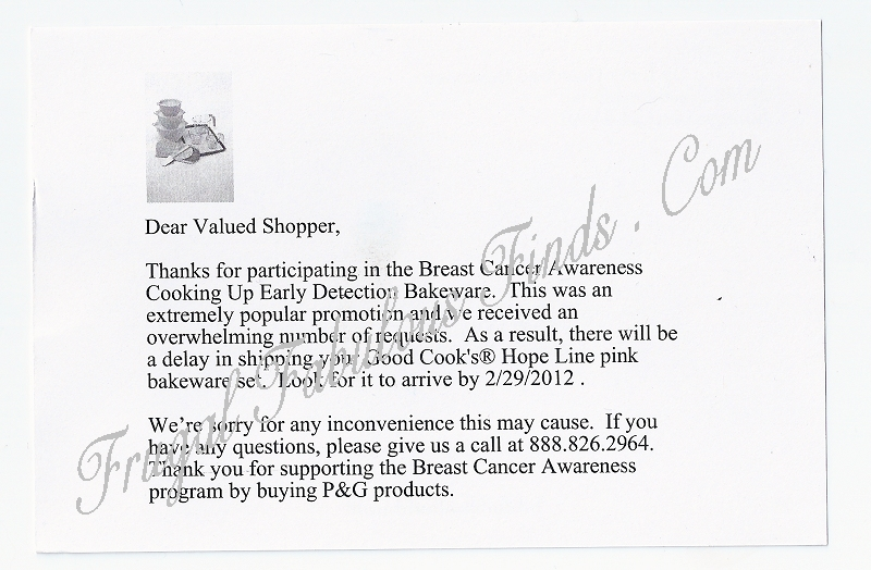 P&G Pink Bakeware Delay - Postcard on 01/13/12