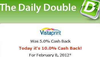 VISTAPRINT DOUBLE CASH BACK + FREE $10 GIFT CARD – TODAY ONLY
