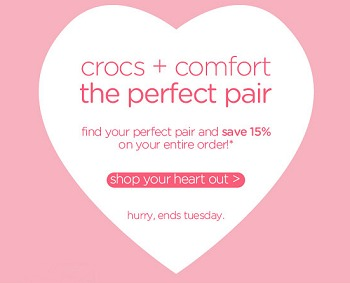 CROCS VALENTINES SALE + CROCS COUPON CODES + 15% OFF + FREE SHIPPING