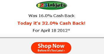 PRINTER INK DEALS – COUPON CODES + 32% CASH BACK + FREE $10 GIFT CARD – TODAY ONLY