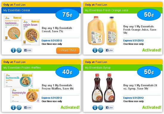 FOOD LION eCOUPONS ON SAVINGSTAR – 4 NEW FOOD LION ECOUPONS