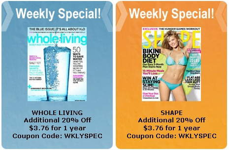 MAGAZINE DEALS THIS WEEK 4-16 COUPON CODES – WHOLE LIVING + SHAPE just $3.76