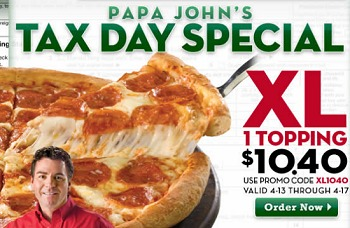 PAPA JOHNS TAX DAY SPECIAL – NOW THRU 4-17 – XL PIZZA just $10.40