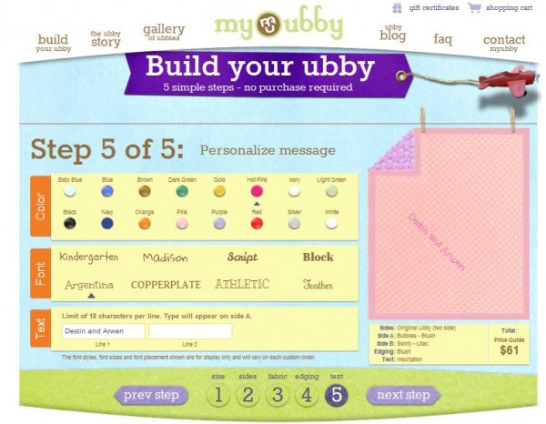 My ubby personalized blanket review coupon code building your custom blanket is a free and easy process just click on build your ubby located on the left hand side of their website and go through the fandeluxe Choice Image