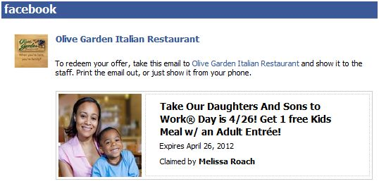 FREE KIDS MEAL AT OLIVE GARDEN 4-26-2012