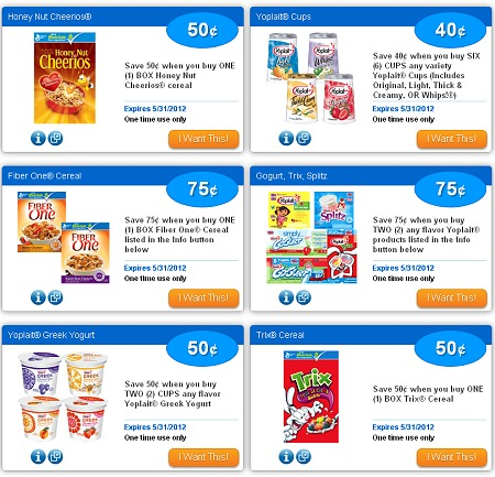 NEW SAVINGSTAR eCOUPONS – CHEERIOS – GOGURT – TRIX CEREAL + MORE