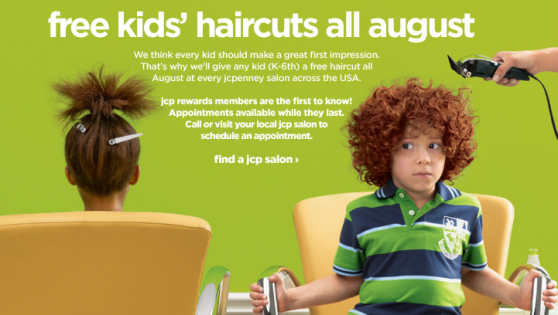 FREE KIDS HAIRCUTS AT JCPENNEY HAIR SALONS in AUGUST