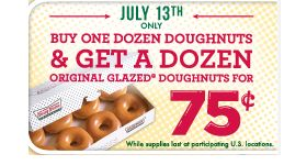 KRISPY KREME BOGO DOZEN GLAZED DOUGHNUTS for just $0.75 ON 7-13-2012