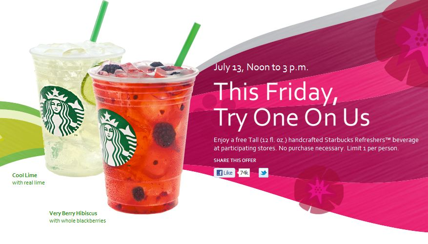 FREE STARBUCKS REFRESHERS BEVERAGE AT STARBUCKS 7-13-2012