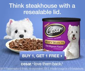 BUY ONE, GET ONE FREE CESAR CANINE CUISINE PRINTABLE COUPON
