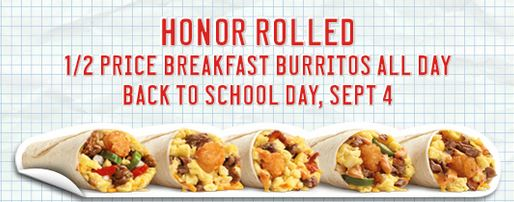 HALF PRICE BREAKFAST BURRITOS AT SONIC DRIVE IN 9-4-2012