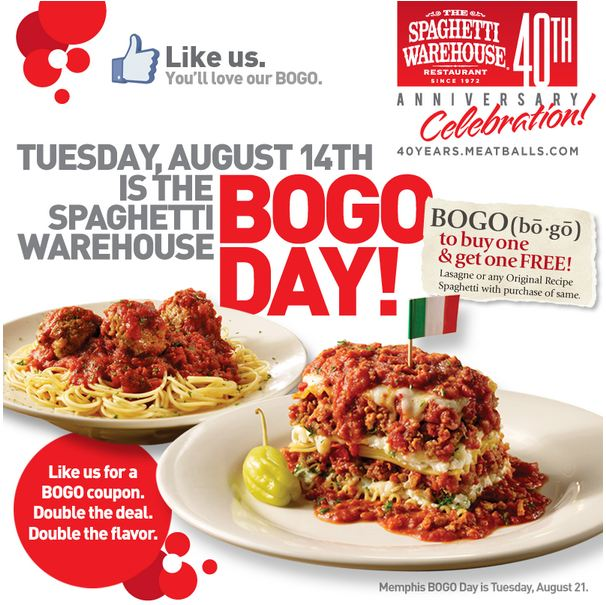 BOGO FREE ENTREES AT SPAGHETTI WAREHOUSE 8-14-2012