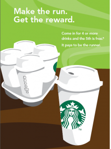 BUY 4 BEVERAGES GET 5TH ONE FREE AT STARBUCKS THRU 9-30-12
