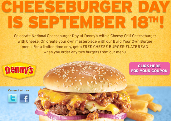 FREE CHEESE BURGER FLATBREAD AT DENNYS THRU 9-29-2012