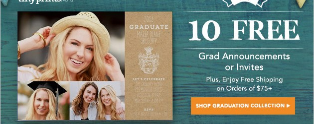 ENJOY 10 FREE GRADUATION ANNOUNCEMENTS/INVITES