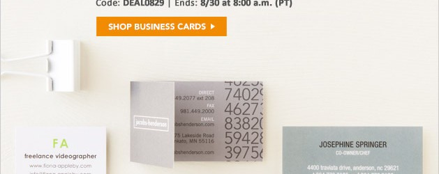 Tiny Prints: 50% Off Business Cards thru 8-30-2013