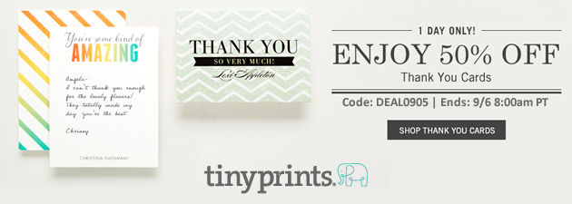 Tiny Prints 50% Off Thank You Cards Sale thru 9-6-2013