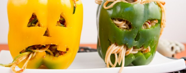 Cooking on a Budget: Jack O Lantern Stuffed Peppers