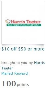 $10 off $50 HARRIS TEETER COUPON AT RECYCLEBANK