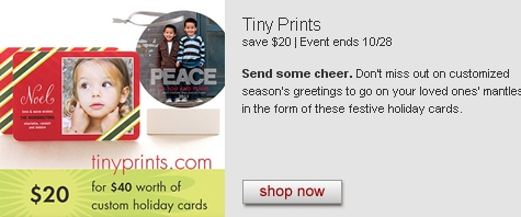 TINYPRINTS CUSTOM HOLIDAY CARDS DEAL just $20 for $40 Worth