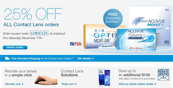 WALGREENS COUPON CODE – 25% OFF CONTACT LENSES + FREE SHIPPING + up to $100 REBATE