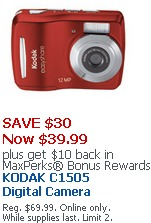 OFFICEMAX KODAK DIGITAL CAMERA DEAL REG. $69.99 – just $29.99 WHILE SUPPLIES LAST