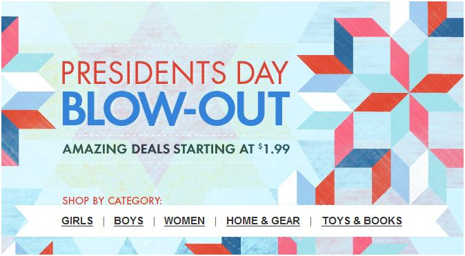 ZULILY PRESIDENTS DAY BLOWOUT – DEALS STARTING AT just $1.99