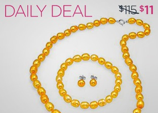 MODNIQUE FRESHWATER YELLOW PEARL JEWELRY SET just $11