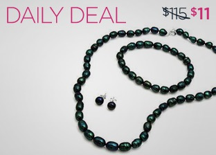 MODNIQUE FRESHWATER BLACK PEARL JEWELRY SET just $11