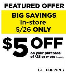 image regarding Big 5 Printable Coupons titled Greenback Total PRINTABLE COUPON - $5 off $25 Keep COUPON