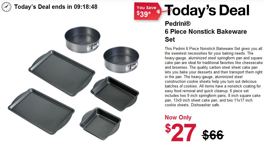 6 PC PEDRINI BAKEWARE SET just $27 – TODAY ONLY DEAL (REG. $66.00)