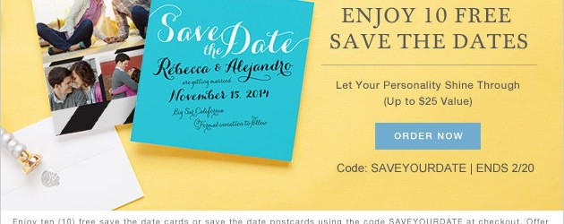 ENJOY 10 FREE SAVE THE DATES FROM WEDDING PAPER DIVAS