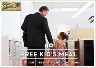 FREE KIDS MEAL AT OLIVE GARDEN 4-25-2013