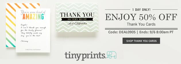 Tiny Prints 50% Off Thank You Cards Sale thru 9-6-2013