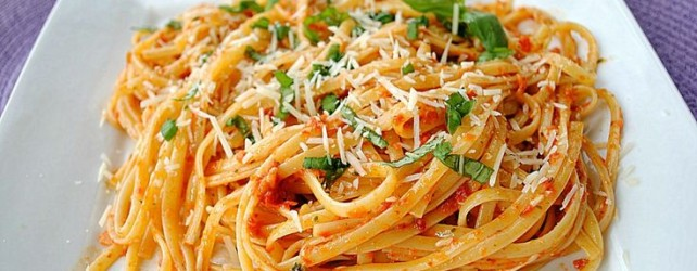 Cooking On A Budget: Linguine Pasta With Sun Dried Tomatoes