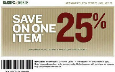 barnes and noble coupon code for 25 off one item