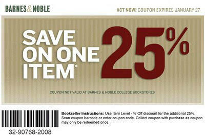 photograph about Barnes and Noble Printable Gift Card named Barnes and Noble Coupon Code For 25% Off 1 Product or service!