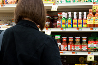 woman checking for groceries
