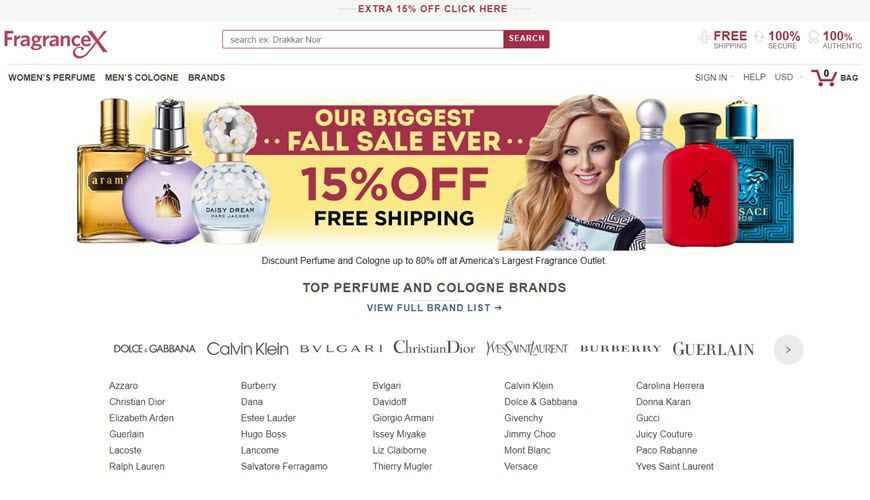 Screenshot of website  fragranceX.com