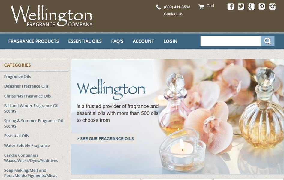 Screenshot of website of wellingtonfragrance.com compare to save on scents