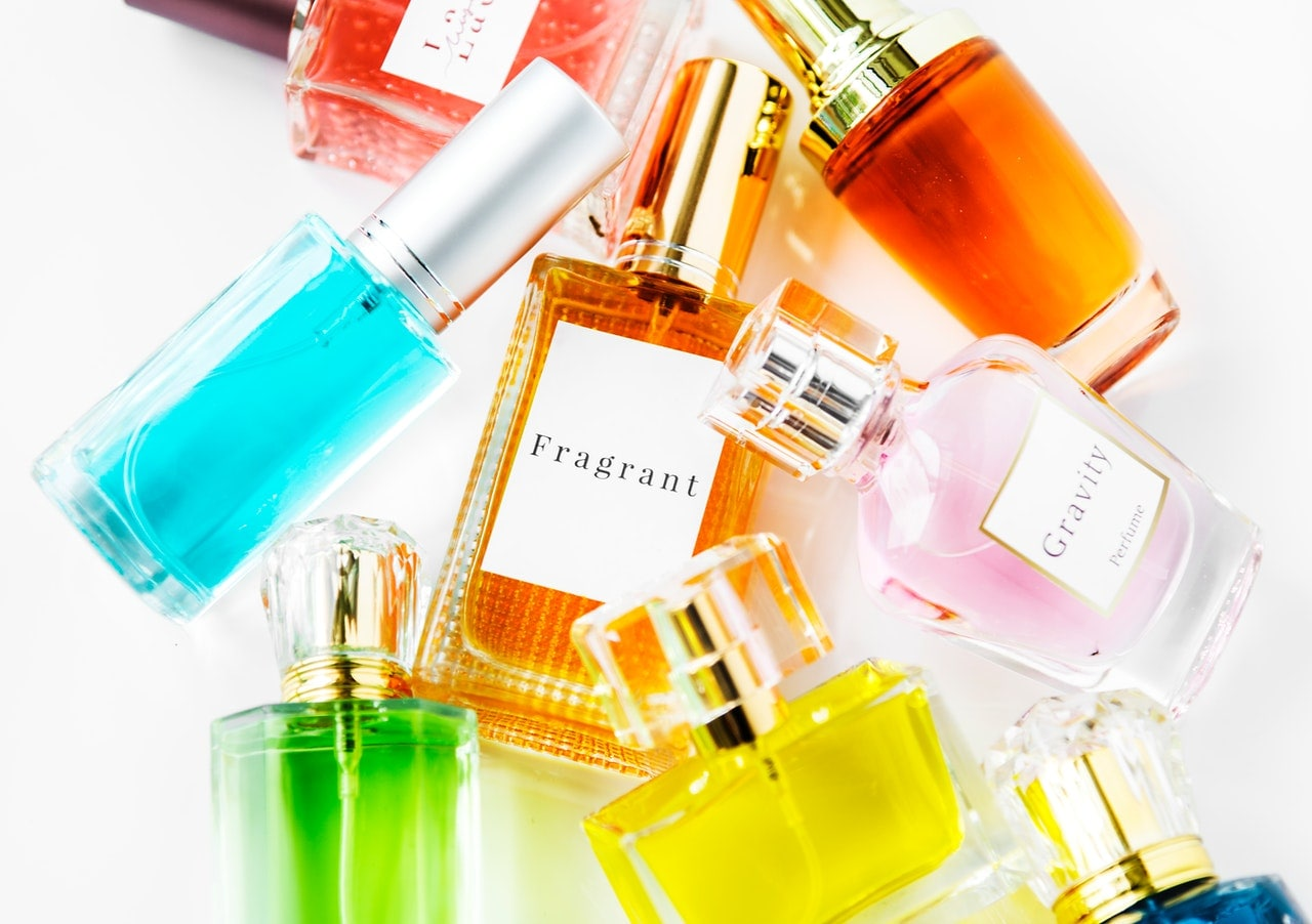 Assorted bottled perfumes